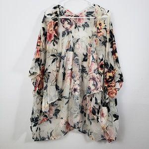 Roffe Accesories Velvet Floral Sheer Kimono